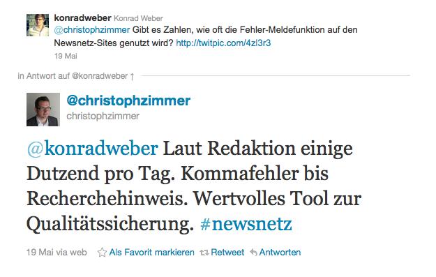 Antwort von Tamedia-Mediensprecher Christph Zimmer, am 19. Mai 2011
