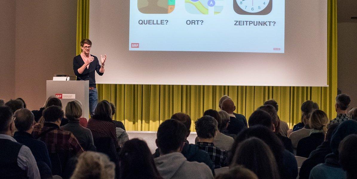 Referat von Konrad Weber zur Verifikation von Fake News – SRG Bern Freiburg Wallis im Januar 2018. Foto: Nicole Imhof.