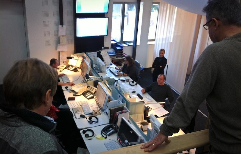Redaktionssitzung im Studio Karlsruhe des Südwestrundfunks.
