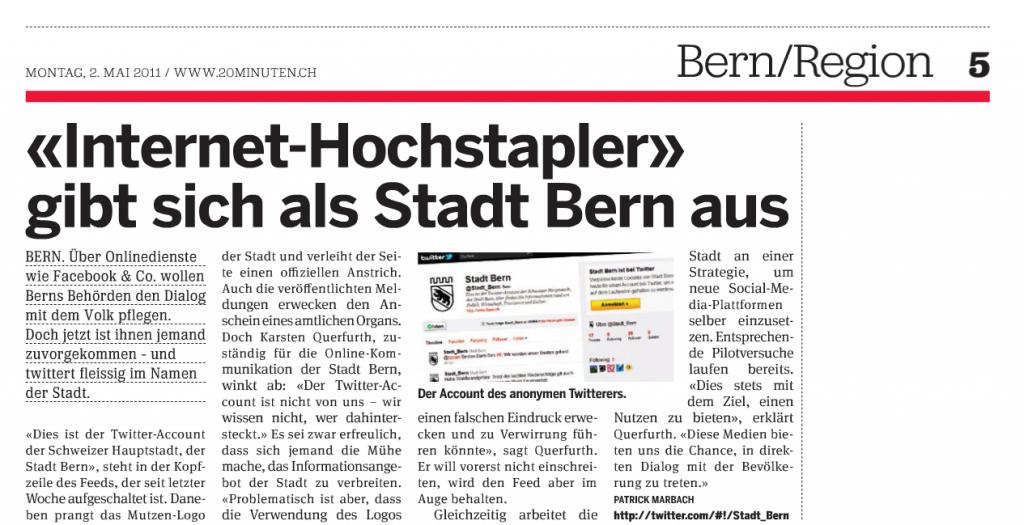 Behördenkommunikation 2.0: Die Geschichte hinter @Stadt_Bern