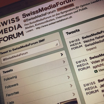 Der Twitter-Account des SwissMediaForum: @swissmediaforum