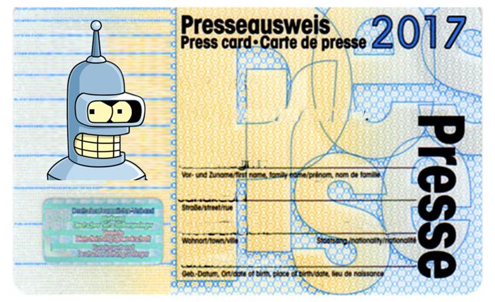 Presseausweis für Roboterjournalisten