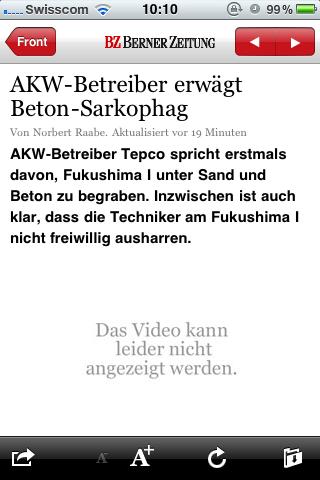 iPhone-App des Newsnetzes (BZ) am 18. März 2011