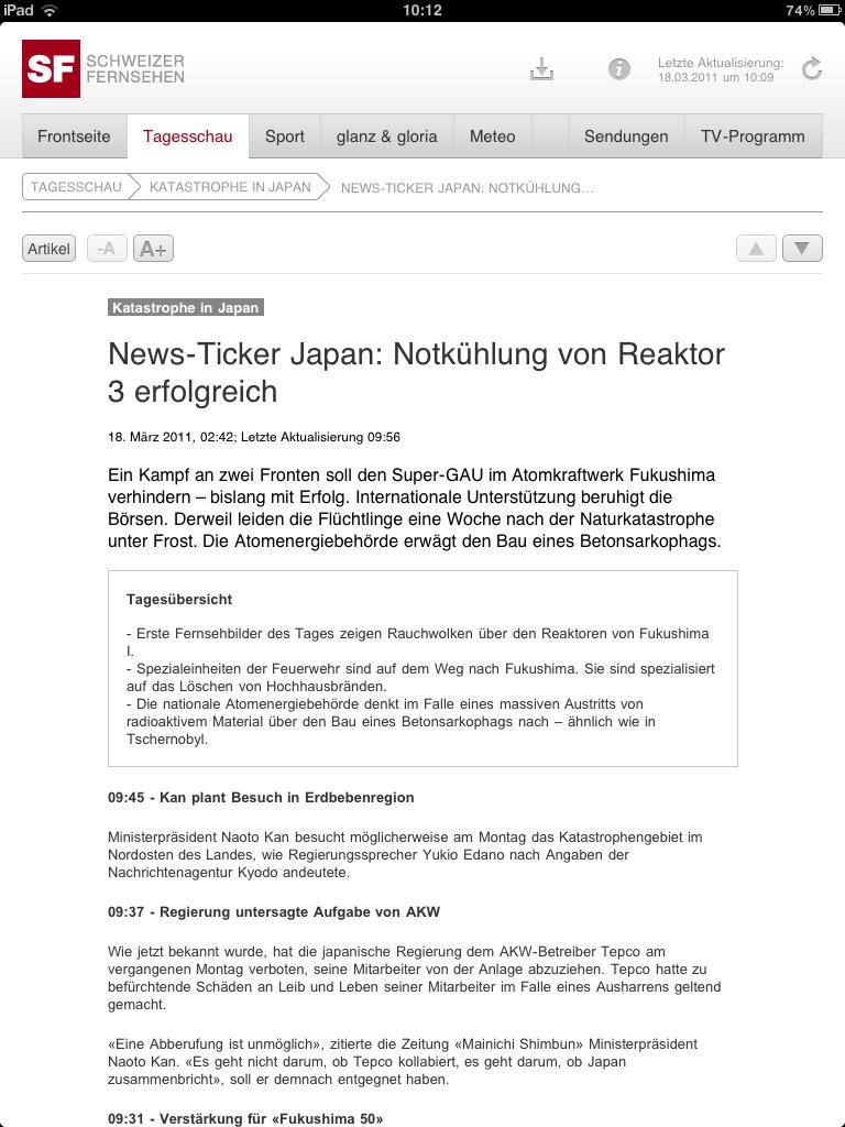 iPad-App des Schweizer Fernsehens am 18. März 2011