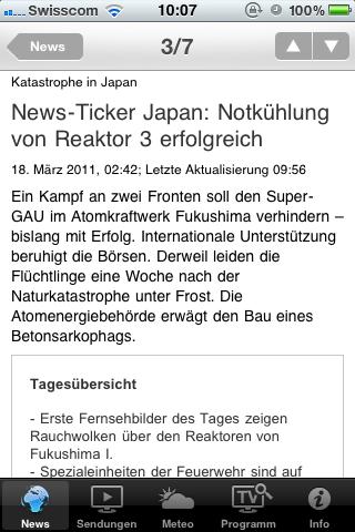 iPhone-App des Schweizer Fernsehens am 18. März 2011