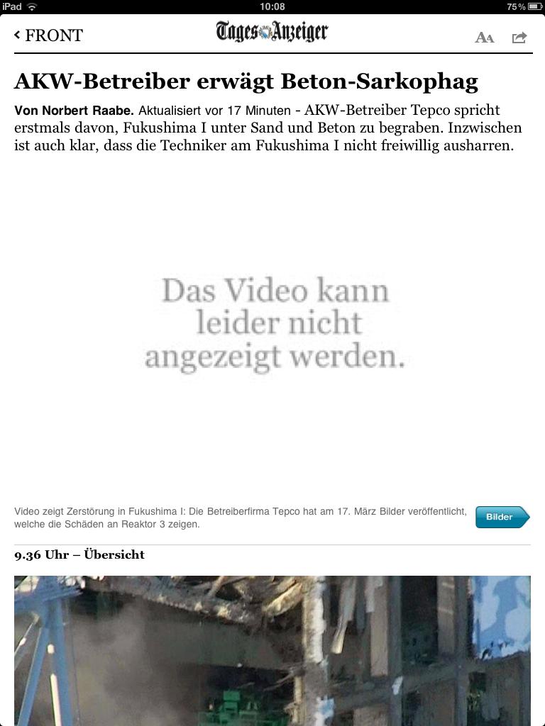 iPad-App des Newsnetzes (TA) am 18. März 2011