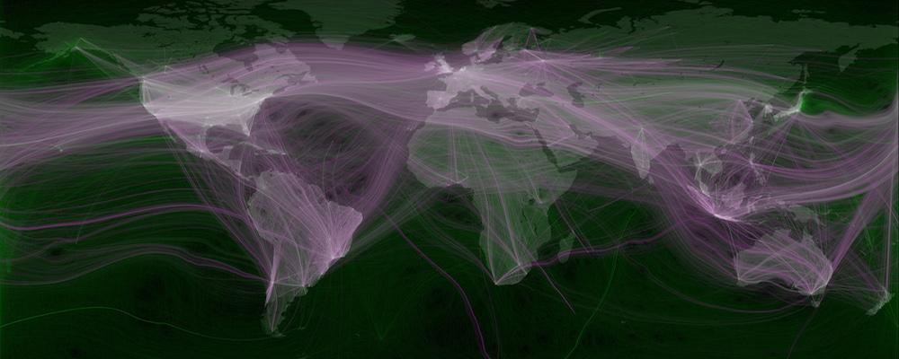 Weltweite Twitter-Netzwerke visualisiert. Bild: Eric Fischer.