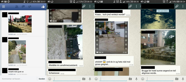 Screenshots von Whatsapp- und Facebook-Nachrichten.