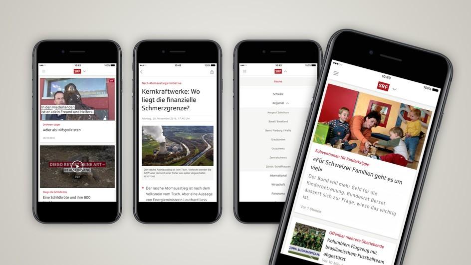 Screenshots der neuen App von SRF
